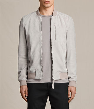 Mens Kemble Suede Bomber Jacket (Smoke Grey)