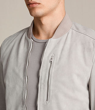 Mens Kemble Suede Bomber Jacket (Smoke Grey) - product_image_alt_text_2