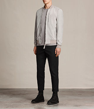 Hombre Kemble Suede Bomber Jacket (Smoke Grey) - product_image_alt_text_3