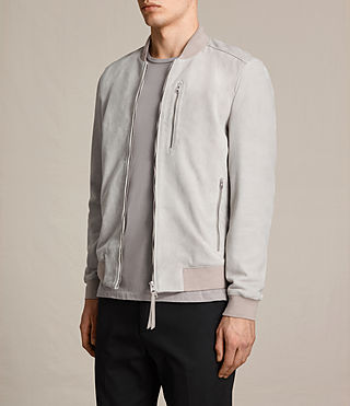 Mens Kemble Suede Bomber Jacket (Smoke Grey) - Image 4