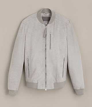 Mens Kemble Suede Bomber Jacket (Smoke Grey) - Image 9