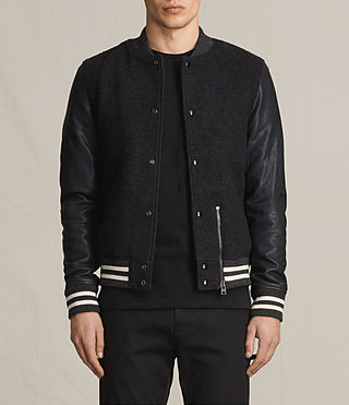 Hombre Campbell Leather Bomber Jacket (charcoal/grey)
