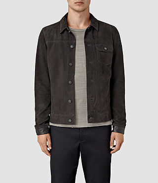 Hommes Rine Suede Jacket (Washed Black)