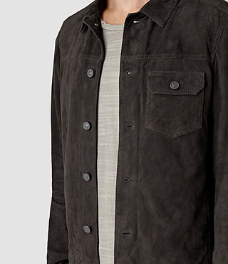 Hombres Rine Suede Jacket (Washed Black) - product_image_alt_text_2