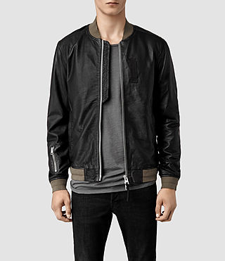 Men's Elter Leather Bomber Jacket (Black)