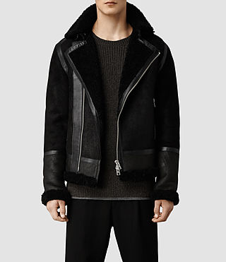 Men's Union Shearling Leather Jacket (Black)