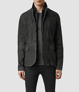 Men's Survey Leather Blazer (Anthracite)