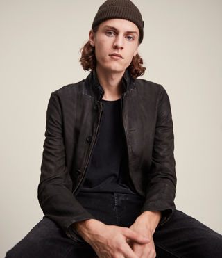 Mens Survey Leather Blazer (ANTHRACITE GREY)