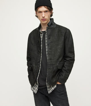 Hommes Survey Leather Blazer (ANTHRACITE GREY)