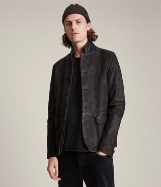 Hombre Survey Leather Blazer (ANTHRACITE GREY) - product_image_alt_text_2