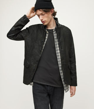 Mens Survey Leather Blazer (ANTHRACITE GREY) - product_image_alt_text_5