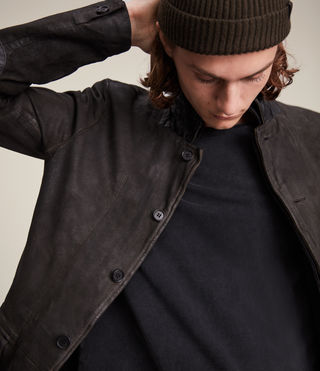 Mens Survey Leather Blazer (ANTHRACITE GREY) - product_image_alt_text_6