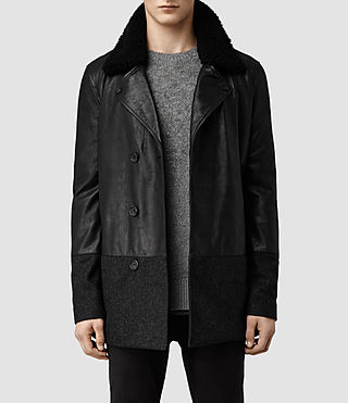 Mens Vettel Pea Coat (Black)