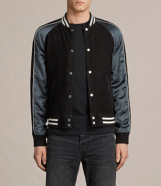 Mens Epton Suede Bomber Jacket (BLACK/PETROL BLUE)
