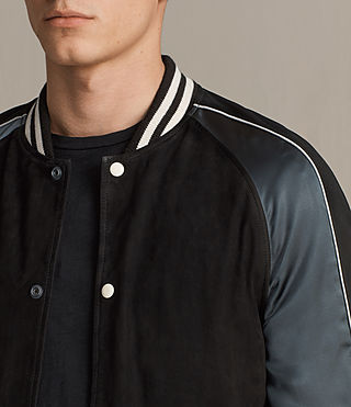 Mens Epton Suede Bomber Jacket (BLACK/PETROL BLUE) - product_image_alt_text_2