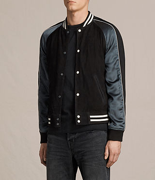 Mens Epton Suede Bomber Jacket (BLACK/PETROL BLUE) - product_image_alt_text_5