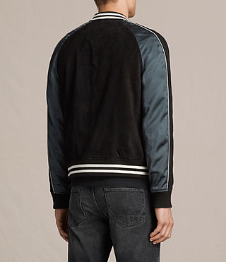 Mens Epton Suede Bomber Jacket (BLACK/PETROL BLUE) - product_image_alt_text_8