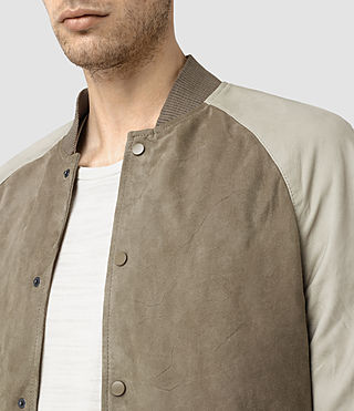 Hombres Academy Suede Bomber Jacket (KHAKI GRN/OYSTRWHT) - product_image_alt_text_2