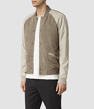 Hombres Academy Suede Bomber Jacket (KHAKI GRN/OYSTRWHT) - product_image_alt_text_3