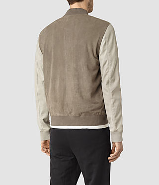 Hombres Academy Suede Bomber Jacket (KHAKI GRN/OYSTRWHT) - product_image_alt_text_4