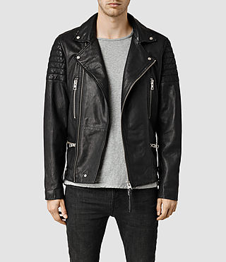 Men's Kane Leather Biker Jacket (Black)