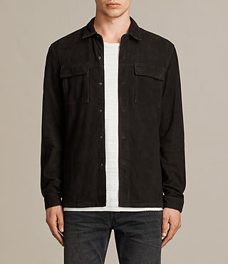 Men's Oryn Leather Shirt (Washed Black) - Image 1