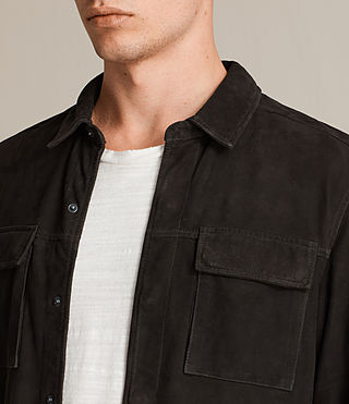Men's Oryn Leather Shirt (Washed Black) - Image 2