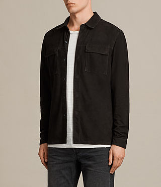 Men's Oryn Leather Shirt (Washed Black) - Image 3