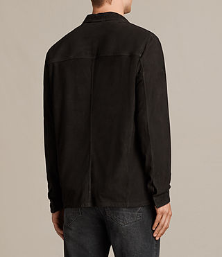 Men's Oryn Leather Shirt (Washed Black) - Image 4