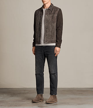 Men's Strander Suede Jacket (Grey Combo) - Image 3