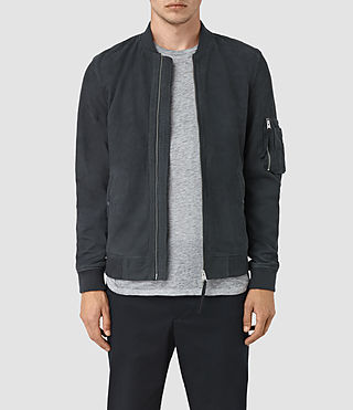 Mens Ikeda Suede Bomber Jacket (STEEL BLUE) - product_image_alt_text_1