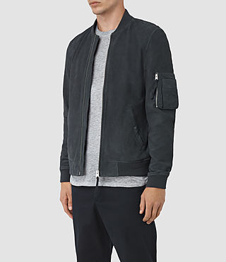 Mens Ikeda Suede Bomber Jacket (STEEL BLUE) - product_image_alt_text_3