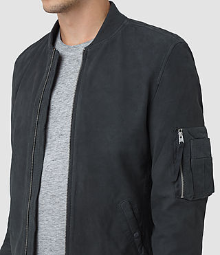 Mens Ikeda Suede Bomber Jacket (STEEL BLUE) - product_image_alt_text_4