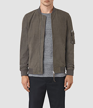 Men's Ikeda Suede Bomber Jacket (DARK SLATE GREY)