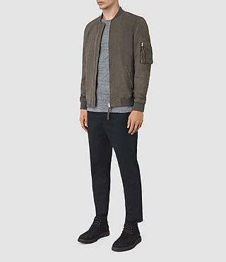 Hombres Ikeda Suede Bomber Jacket (DARK SLATE GREY) - product_image_alt_text_2