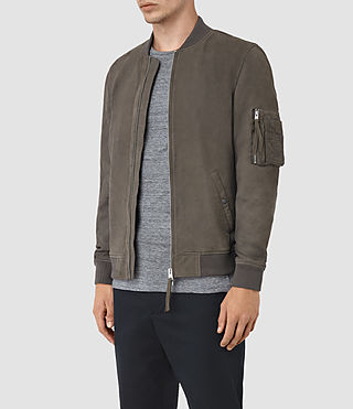 Hombres Ikeda Suede Bomber Jacket (DARK SLATE GREY) - product_image_alt_text_3