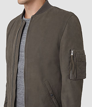 Hombres Ikeda Suede Bomber Jacket (DARK SLATE GREY) - product_image_alt_text_4