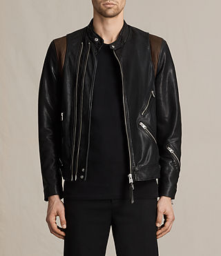 Hommes Parker Leather Jacket (BLACK/RUST RED)