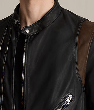 Mens Parker Leather Jacket (BLACK/RUST RED) - product_image_alt_text_2
