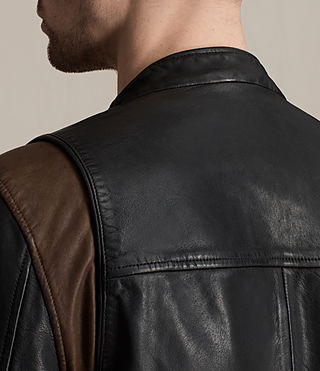 Mens Parker Leather Jacket (BLACK/RUST RED) - product_image_alt_text_4
