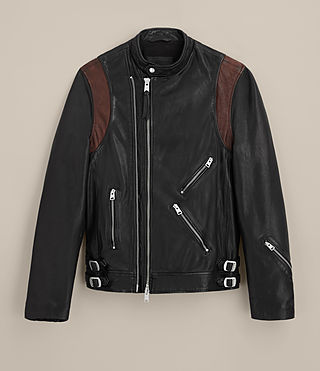 Mens Parker Leather Jacket (BLACK/RUST RED) - product_image_alt_text_9