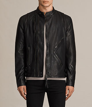Hombres Parker Leather Jacket (Black) -