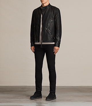 Men's Parker Leather Jacket (Black) - product_image_alt_text_3