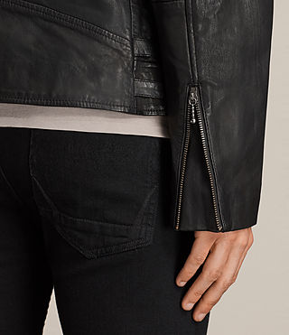 Hombres Parker Leather Jacket (Black) - product_image_alt_text_4
