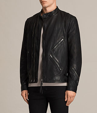 Men's Parker Leather Jacket (Black) - product_image_alt_text_5