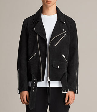 Men's Hosoi Suede Biker Jacket (Washed Black) - Image 1