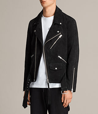 Men's Hosoi Suede Biker Jacket (Washed Black) - Image 7