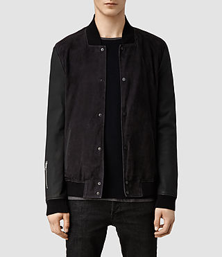 Men's Delta Leather Bomber Jacket (Ink/Black)