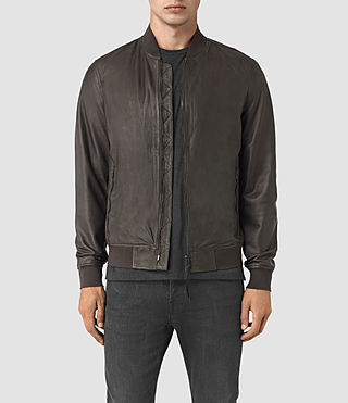 Hombres Yoto Leather Bomber Jacket (ANTHRACITE GREY)