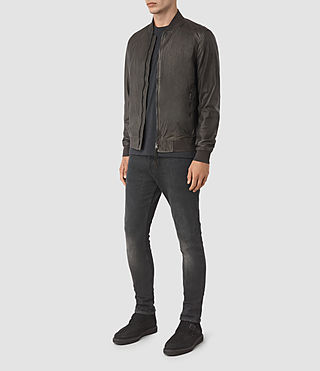 Men's Yoto Leather Bomber Jacket (ANTHRACITE GREY) - product_image_alt_text_2